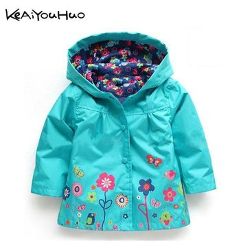 KEAIYOUHUO Boys Girls Flowers Wind Rain Hooded Jacket Windbreak Kids Floral Waterproof Warm Christmas Coat Children Clothes