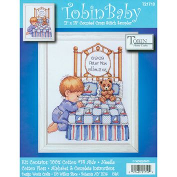 "Bedtime Prayer Boy Birth Record Counted Cross Stitch Kit 11""X14"" 14 Count"