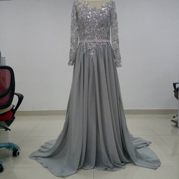 Closed Back Prom Dresses,Grey Prom Dress,Long Evening Dress