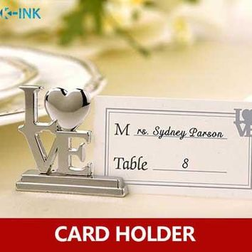 20pcs / lot , LOVE metal place card holder , LOVE photo holder , card stands for wedding as name card holder