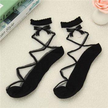 Women Ladies Sheer Mesh Lace Bow Dots Knit Flower Frill Trim Ankle Socks