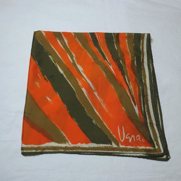 1970s Vintage Vera Neumann Green & Orange Scarf, Abstract Stripe Print, 23 Inches Square, Polyester, Vintage Scarf, 1970s Fashion Accesory