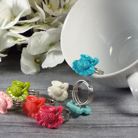 Teacup Kawaii Ring in Blue, Aqua, Light Pink, Hot Pink, Coral, Green and White