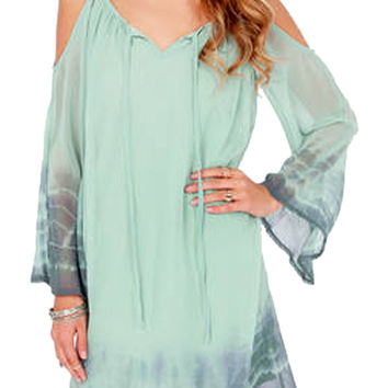 Light Green Tie V-neck Spaghetti Strap Bell Sleeve A-Line Mini Dress