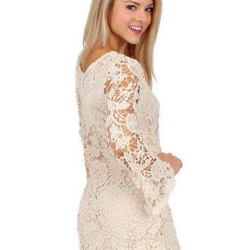 Country Strong Crochet Dress with Bell Sleeves | Monday Dress Boutique