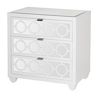 Worlds Away Ava Nightstand, White