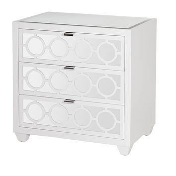 Worlds Away Ava White Mirrored Nightstand