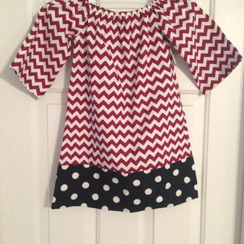 Custom Gamecock South Carolina Girls Chevron/Polka Dot Monogrammed Personalized Peasant Dress