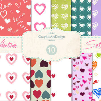 """Love Digital Scrapbook Paper Pack: """"LOVE"""" Heart Patterns - Perfect for valentine 's day - Personal and Commercial Use - Instant Download"""