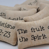Fruit of the Spirit Christian Bowl Fillers - Decorative Pillows - Tucks - Ornies - Scripture - Galations 5 - Primitive - Gingham