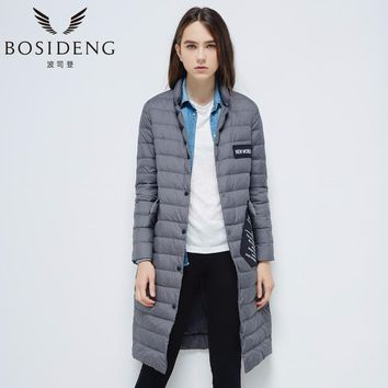 New women goose down coat long down jacket light warm high quality single breasted button notched lapel