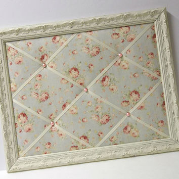 Durham Pink Rose on Pale Blue fabric Shabby Chic Distressed Framed Memo Board