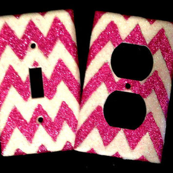 Glittered Chevron Light Switch & Outlet by MelaniesGlittermania