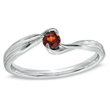 Garnet Bypass Promise Ring in Sterling Silver