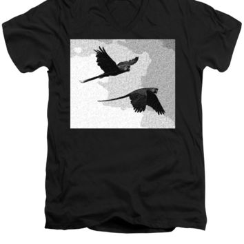 Parrots Drawing - Men's V-Neck T-Shirt