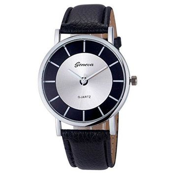 Geneva Black and Silver Face Mens Watch w/ Black Leather Bands