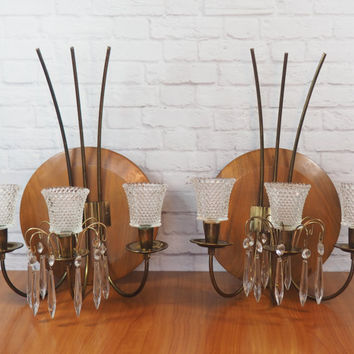 Mid Century Wood and Brass Candle Sconces with Crystal Prisms, Wall Mounted Candle Holders
