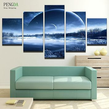 PENGDA Painting Home Decor Frames 5 Panel Earth Landscape For Living Room Canvas Art Printed On Canvas Wall Modular Picture