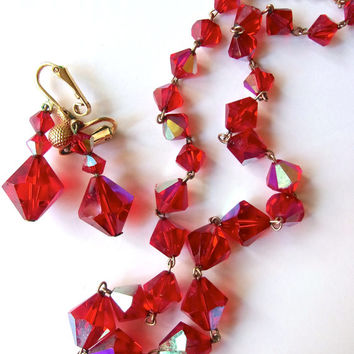 Art Deco Red Siam Necklace Earrings Set, Gold Tone, Vintage