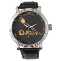 Darts With Golden Dart In Flames With Stylish Text Wristwatch