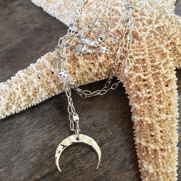 Crescent Moon Necklace, Boho Hammered, Sterling Silver, Half Moon Pendant, Celestial Necklace by Two Silver Sisters
