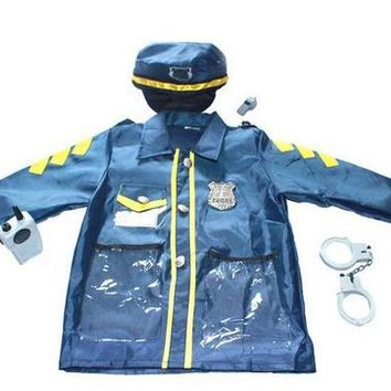 free shipping Children child Police Officer Patrol Cop  Halloween Costume Kid Fancy party outfit Boy birthday gift