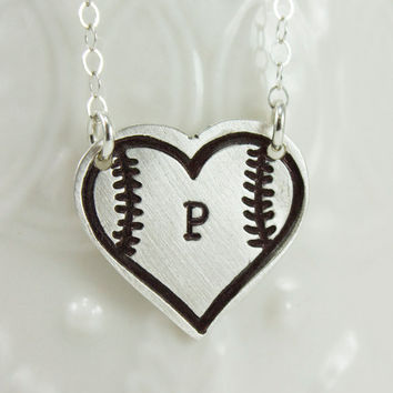 Baseball Fan Necklace - I love baseball necklace - Softball Necklace - Stitched Heart Necklace - Baseball Jewelry - Gift for Baseball Mom