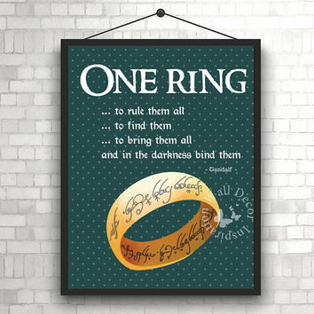 One Ring | Art Print | Home Decor Print | Printable Quote | Typography | The Lord of the rings | J.R.R. Tolkien