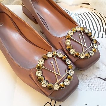 LV Spring Summer New Fashion Women Water Drill Metal Buckle Bowknot Silks Satins Surface Single Shoe Sandals Shoes Pink I12185-1