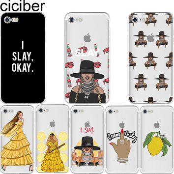 ciciber Beyonce Lemonade Hold Up Formation I SLAY soft silison phone Cases Cover for IPhone 6 6S 7 8 Plus 5S SE X Capinha Coque