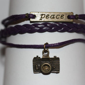 SHINE~ Handmade Peace Camera Charm Purple Leather Wedding Photographer Gift Multilayer Handcrafted Bracelet ilovecheesygrits