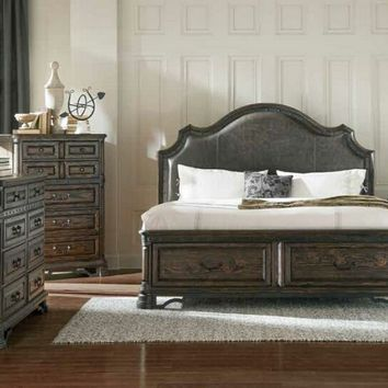 5 pc Cameron collection vintage espresso finish wood queen bedroom set with padded headboard