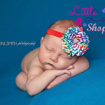 Rainbow Chevron Baby Headband, Newborn Girl Headband, Hair Clips, newborn photography props - Canada