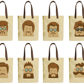 Men Character Face Set Beige Printed Canvas Tote Bags Leather Handles WAS_30