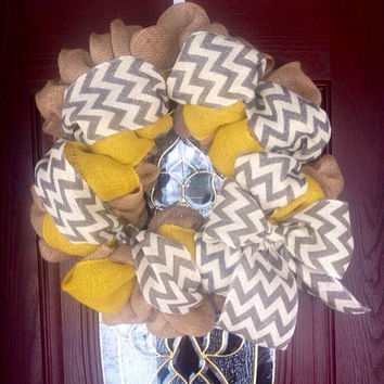 Burlap wreath with yellow burlap and white and black chevron, chevron wreath, all seasons