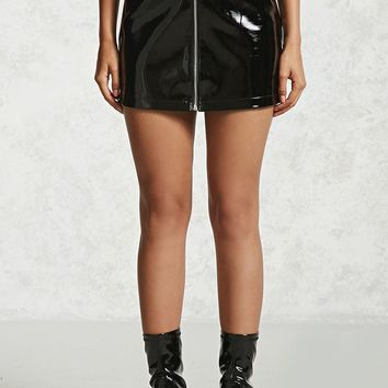 Faux Patent Leather Mini Skirt