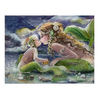 Kissing Mermaid and Baby poster from Zazzle.com