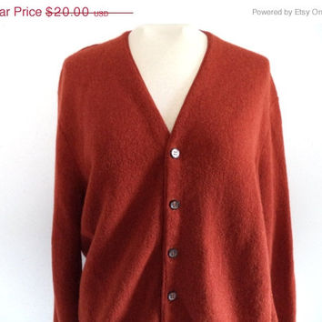 SALE Rust grandpa sweater/ vintage men's cardigan sweater/ alpaca & wool sweater size L
