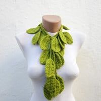 Handmade  crochet Lariat Scarf,Leaf Scarf,Green,Necklace Scarf