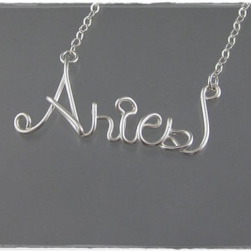 FREE SHIPPING!!!  Aries Astrology Sign Wire Word Pendant Necklace