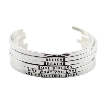 Stainless Steel Open Cuff Hand Stamped Bracelets
