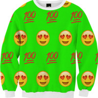 Lime Green/Emoji Sweatshirt created by trilogy-anonymous | Print All Over Me