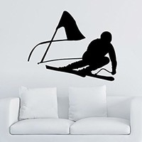 Downhill Skiing Wall Decal Vinyl Stickers Decals Home Decor Skier Snow Freestyle Jumping Extreme Sports Winter Nursery Bedroom Dorm ZX112