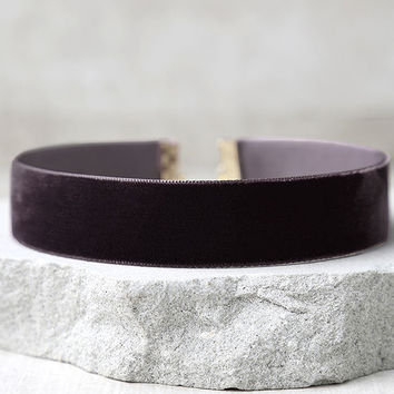 One Moment in Time Plum Purple Velvet Choker Necklace