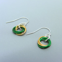 Sterling Silver Green and Gold Mobius Flower Earrings