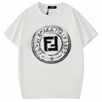 Fendi 2019 new chest sequins embroidered round neck half-sleeved T-shirt white