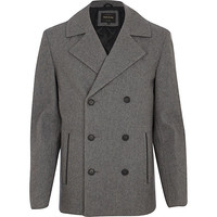 River Island MensLight grey wool blend peacoat