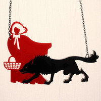 Little Red Riding Hood Necklace Black & Red Acrylic by CABfayre