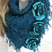 Teal winter scarf, Fluffy scarf, Blue scarf, Women's fashion, Handmade blue scarves, Handmade blue black roses, Teal winter shawl