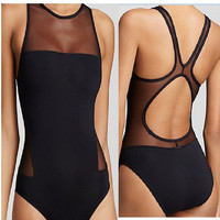 Black One piece see through  Woman Coolstyle Sunbathing Summer Beach Hot Swimwear Bikini Beachwear Swimsuit Bathingsuit  = 6095971523